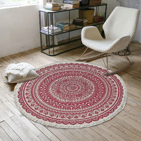 Tapis circulaire rouge